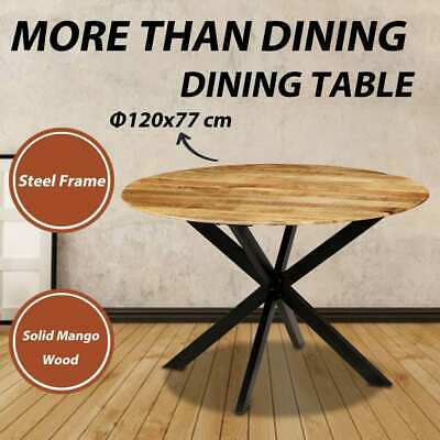 vidaXL Solid Mango Wood Dining Table Round Dinner Room Kitchen Coffee Table