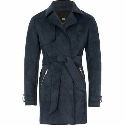 New River Island Girls navy faux suede cropped trench jacket,size 9-10 years