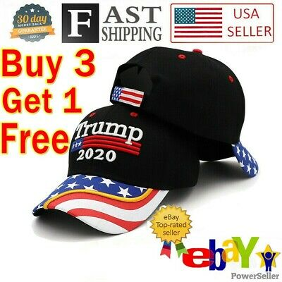 President  Donald Trump 2020 Hat Black USA Flag Make America Great Again Cap rr