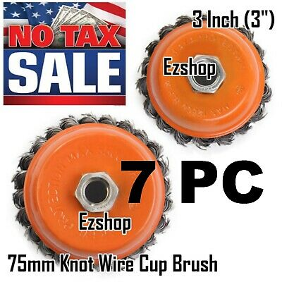"""7 Wire Cup Brush 3"""" (75mm) for 4-1/2"""" (115mm) Angle Grinder Twist Knot Hoteche"""