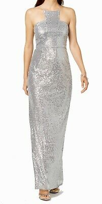 Adrianna Papell Women's Gown Silver US 14 Sequin Embellished Cutaway $219 #103