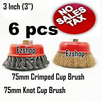 """6 CUP 3"""" Twist Knot & 3"""" Crimped Cup Wire 5/8""""-11 Threaded Arbor Wire Cup Brush"""