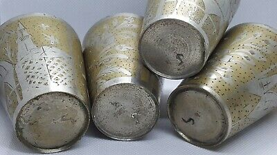 Vintage Middle Eastern Engraved 4 Cup BRASS AND SILVER (moroccan persian)