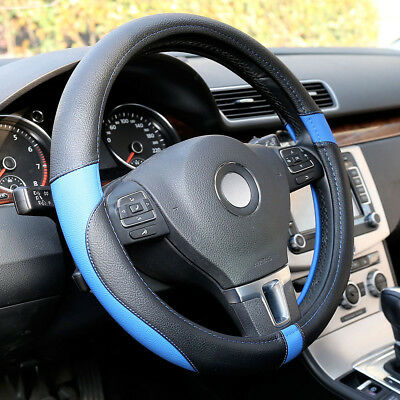 """PU Leather Car Steering Wheel Cover Black Blue Size M 15"""" Auto Car Universal Fit"""