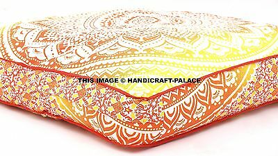 Ombre Mandala Indoor Outdoor Decor Indian Square Dog Bed Flexible Soft Pets Bed