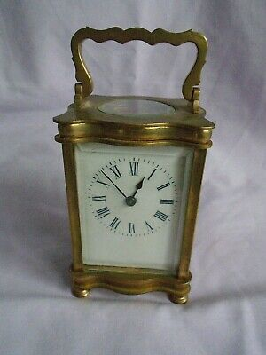 Antique French Timepiece Carriage Clock + Key In Good Working Order