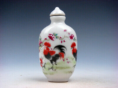 Famille-Rose Glazed Porcelain Snuff Bottle Big Tail Roosters & Flowers #12211913