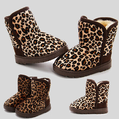 Kids Fur Ankle Snow Boots Boys Girls Winter Warm Walking Trainers Outdoor Shoes