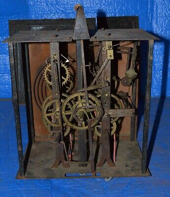 Antique French Morbier Clock Movement Time & Strike Clock Movement #4