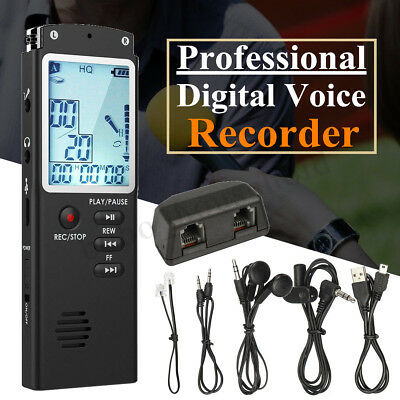 8/16GB Rechargeable Digital Sound Voice Recorder USB LCD Dictaphone MP3    IE