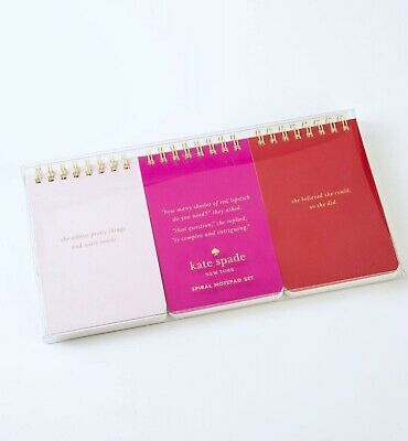 Kate Spade New York SHE Spiral Notepad Notebooks Paper Pads Set of 3
