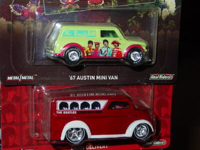 Hot Wheels 2016 Pop Culture The Beatles 2 Car Set -Dairy Delivery & Austin Mini