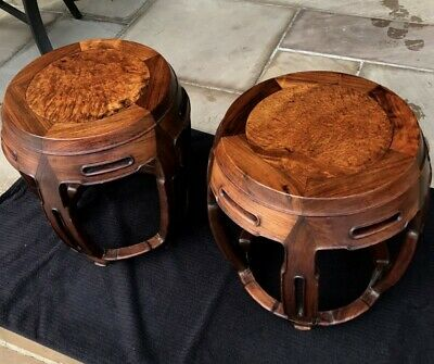 Ex.rare Pair Antique Chinese Huanghuali Rosewood Drum Form Garden Seat Stools