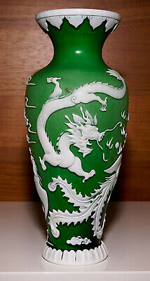 Jade Green Colored Chinese Peking Glass Vase with Dragon & Phoenix - has Mark