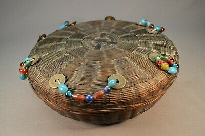High Quality Antique Chinese Sewing Basket w/ Glass Beads and Cash Coins Mint
