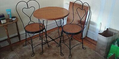 Wrought Iron Cafe Style Table & 2 Chairs with heart shaped back
