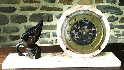 Art Deco Mantle Clock Marble with A SWAN ART DECO PENDULE Vintage