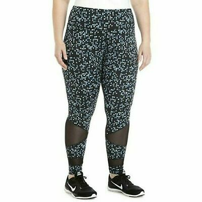 ZELOS Women's Workout Leggings Black Blue Polyester Spandex Plus Size 2X