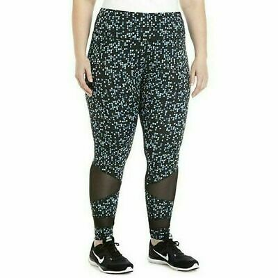 ZELOS Women's Workout Leggings Black Blue Polyester Spandex Plus Size 3X