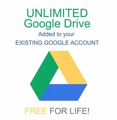 Lifetime Unlimited Google Drive Storage Added to YOUR Existing Google Account