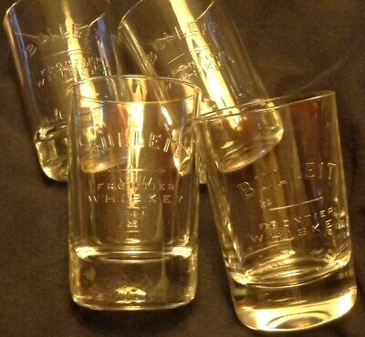 Set of 4 Bulleit Frontier Whiskey Rocks or Drink Glasses - 6 Ounce Glasses...NEW