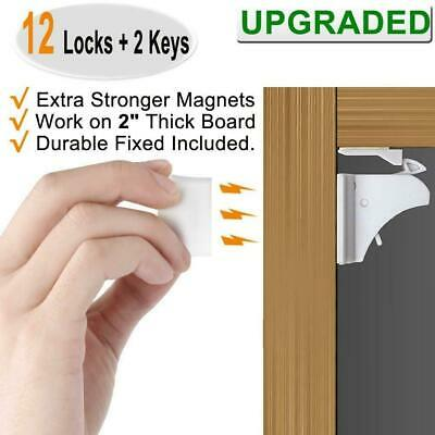 Child Safety Magnetic Cabinet and Drawer Locks 12 Pack Child Latches Open Box..