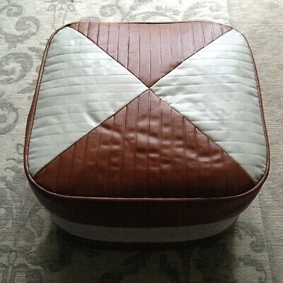 Retro Vintage Tan & Cream Faux Leather Mid Century 60/70'S Poufee Footstool