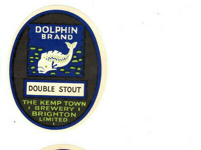 MINT KEMP TOWN BRIGHTON BREWERY DOUBLE DOLPHIN  DOLPHIN BRAND BEER BOTTLE LABEL