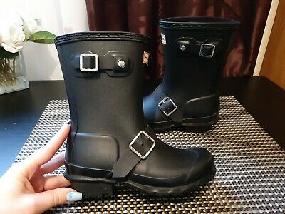Hunter Black Wellies Kids Boys Girls Size Uk12 Eu31 Genuine Good Condition