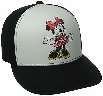 Disney Unisex Vintage Minnie Mouse Snapback Hat Cap - Black/White
