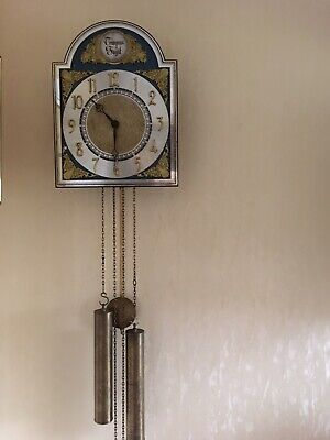 Dutch Ting Tang  Wall Clock With Decorative Dial & Large Brass Weights