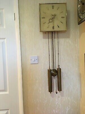 Dutch Ting Tang Wall Clock With Cream  Dial &  Brass Hands & Large Brass Weights