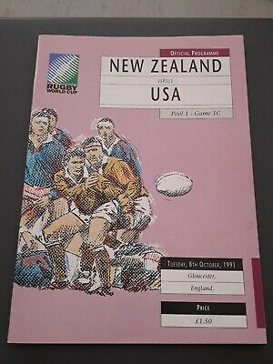 1991 New Zealand All Blacks V Usa United States World Cup Pool 1 Rugby Programme