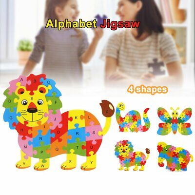 Wooden ABC Alphabet Jigsaw Animal Puzzle kid Toy Children Educational LearningE3