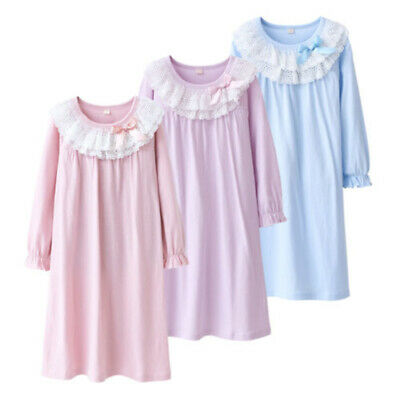 Girls Cotton Long sleeve Nightwear Loungewear Home Night Dress Kids ZB