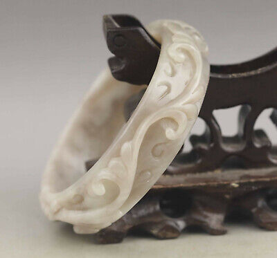 China natural hetian jade bracelet hand carved flower bangle with certificate
