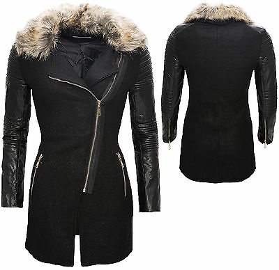 Women's Coat with Faux Leather Sleeves fur Collar Jacket Black Winter D-86 New