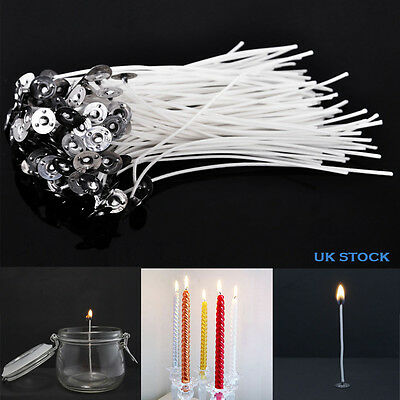 50/100 Pcs Pre Waxed Wicks For Candle Making With Sustainers Cotton Coreless UK