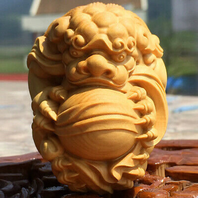 """2.4"""" Boxwood Wood Carving Pixiu Sculpture Feng Shui Lucky Amulet Fortune Statue"""