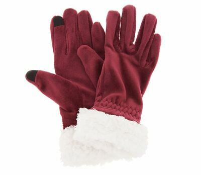 NEW Cuddl Duds Double Plush Velour Gloves w/ Faux Sherpa Cuff a344608 Burgundy