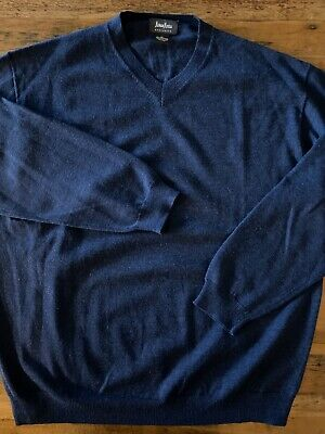 Neiman Marcus Exclusive Mens Size XL V-Neck Merino Wool Blue Pullover Sweater