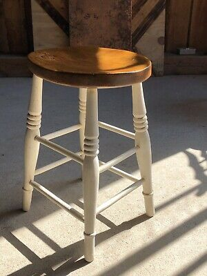 Vintage Victorian Elm Wood Stool Wonderful Item