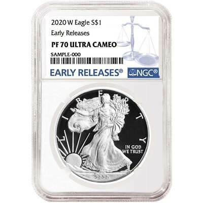 2020-W Proof $1 American Silver Eagle NGC PF70UC Blue ER Label