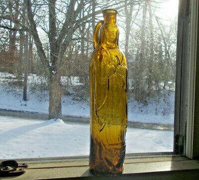 Beautiful Yellow Citron Pontiled Madonna Figural Virgin Mary Bottle With Handle