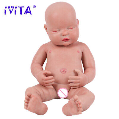 "IVITA 18"" Silicone Reborn Baby Doll Children Playmate Toy Baby+Clothes Xmas Gift"