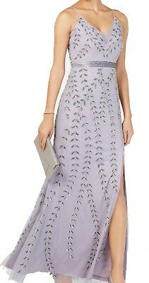 Adrianna Papell Women's Gown Purple 12 Bead Embellished T High Slit $319 #012
