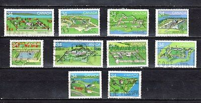 CANADA 1985, #1050/1059 SET OF 10 USED STAMPS, 34c CANADIAN FORTS -2-, EXC. COND