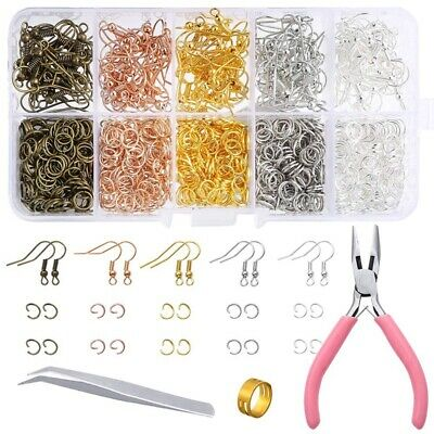 1128 Pieces Earring Making Supplies Kit with Earring Hooks, Jump Rings, PliK4O7