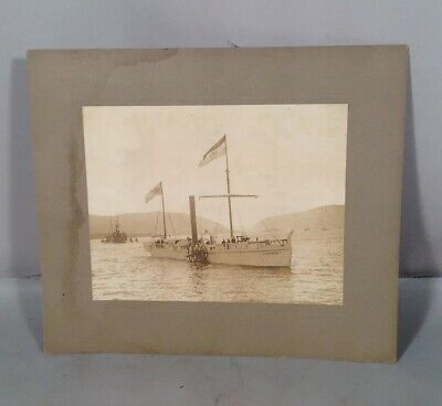 Antique Vintage Yacht Boat Sailboat Clermont Sepia Large Photo 7 H America
