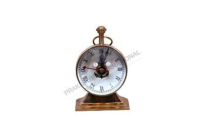 Antique Collectible Vintage Decorative Table Top Brass Clock Desk Top Watch Gift